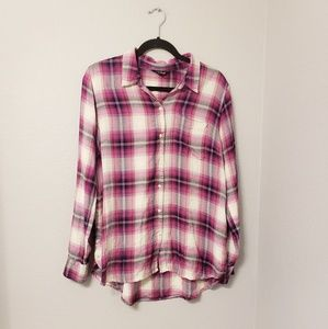 Lucky brand pink plaid button down top. Size large